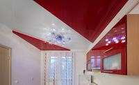 Двухуровневый глянцевый натяжной потолок на кухню