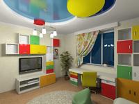 глянцевый натяжной потолок в детскую