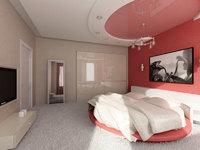 глянцевый натяжной потолок в спальню